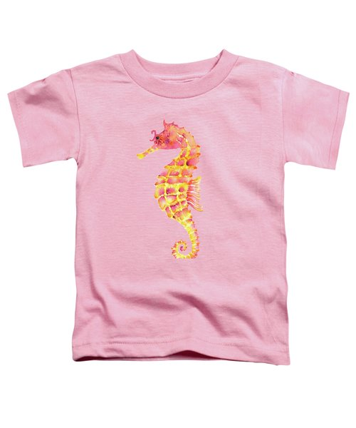 Pink Yellow Seahorse - Square Toddler T-Shirt by Amy Kirkpatrick