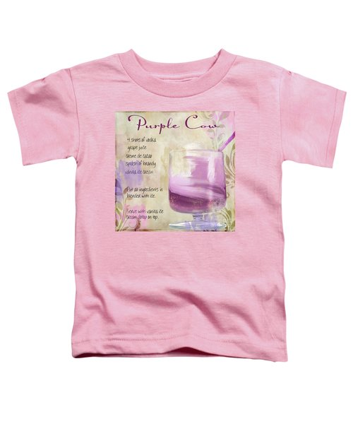 Purple Cow Mixed Cocktail Recipe Sign Toddler T-Shirt by Mindy Sommers