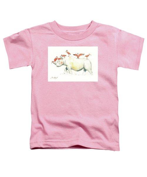 Rhino And Ibis Toddler T-Shirt by Juan Bosco