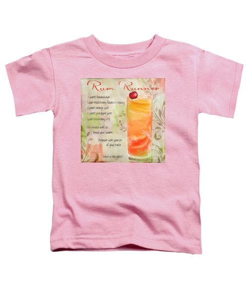 Rum Runner Mixed Cocktail Recipe Sign Toddler T-Shirt by Mindy Sommers