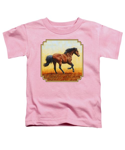 Running Horse - Evening Fire Toddler T-Shirt by Crista Forest