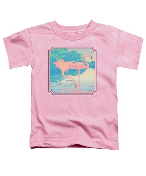 Square Format - Pink Flamingos Retro Pop Art Nouveau Tropical Bird 80s 1980s Florida Painting Print Toddler T-Shirt by Walt Curlee