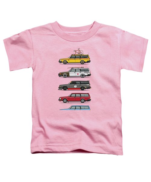 Stack Of Volvo 200 Series 245 Wagons Toddler T-Shirt by Monkey Crisis On Mars