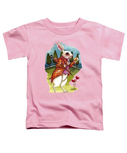 The White Rabbit Is Late Toddler T-Shirt by Lucia Stewart