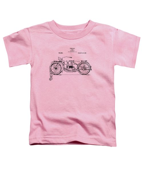 Vintage Harley-davidson Motorcycle 1919 Patent Artwork Toddler T-Shirt by Nikki Smith