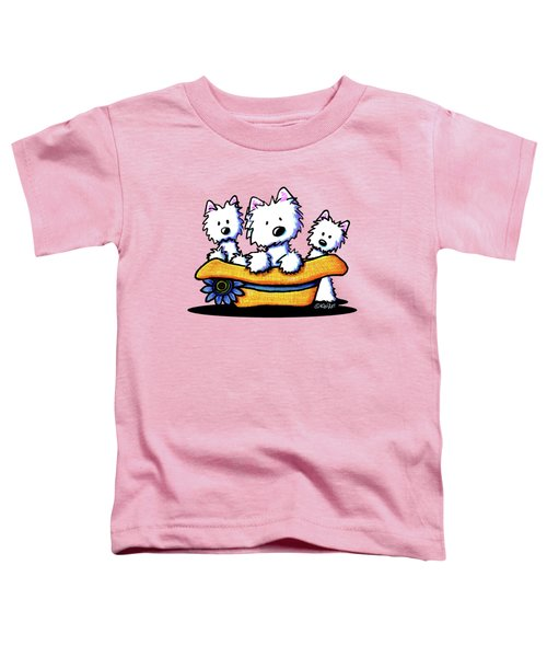 Westie Hat Trio Toddler T-Shirt by Kim Niles