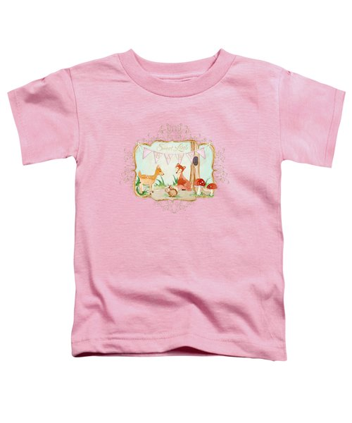 Woodland Fairytale - Banner Sweet Little Baby Toddler T-Shirt by Audrey Jeanne Roberts