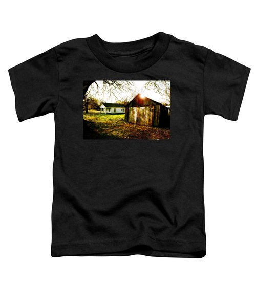 American Fabric   Mickey Mantle's Childhood Home Toddler T-Shirt by Iconic Images Art Gallery David Pucciarelli