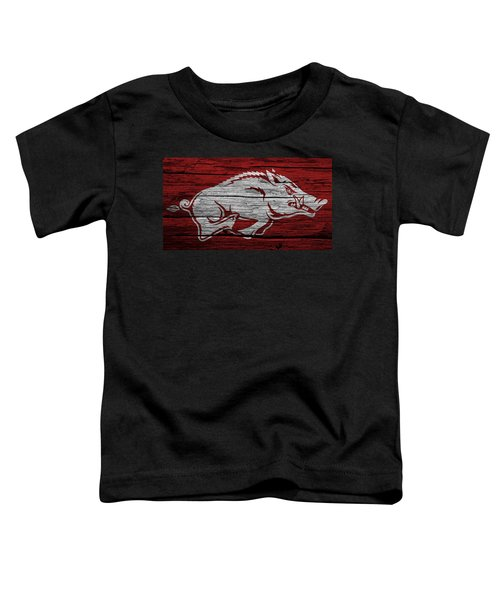 Arkansas Razorbacks On Wood Toddler T-Shirt by Dan Sproul