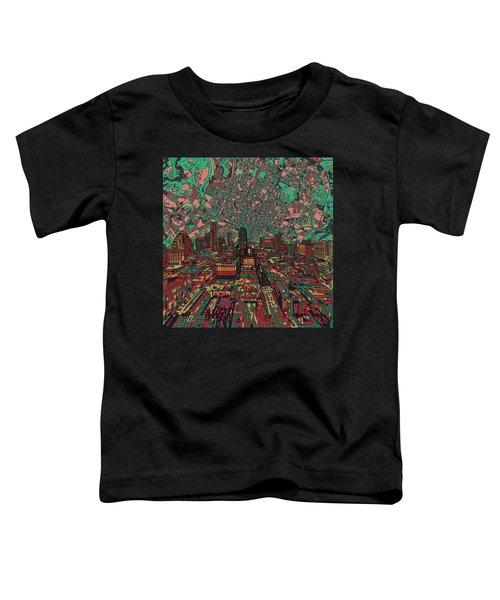 Austin Texas Vintage Panorama 3 Toddler T-Shirt by Bekim Art