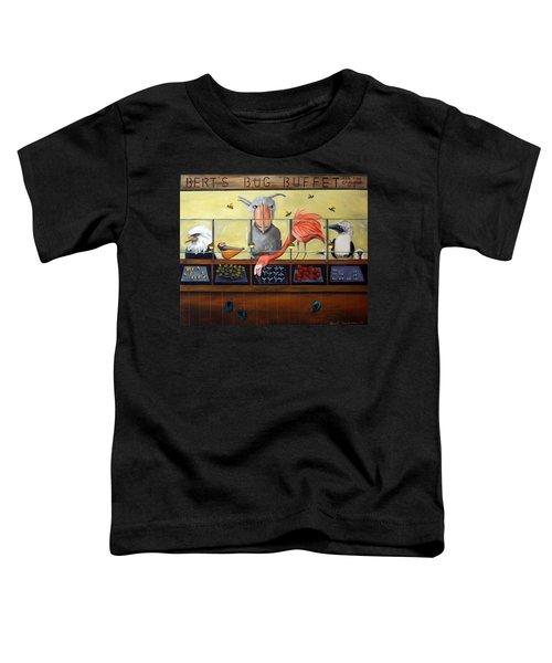 Bert's Bug Buffet Toddler T-Shirt by Leah Saulnier The Painting Maniac