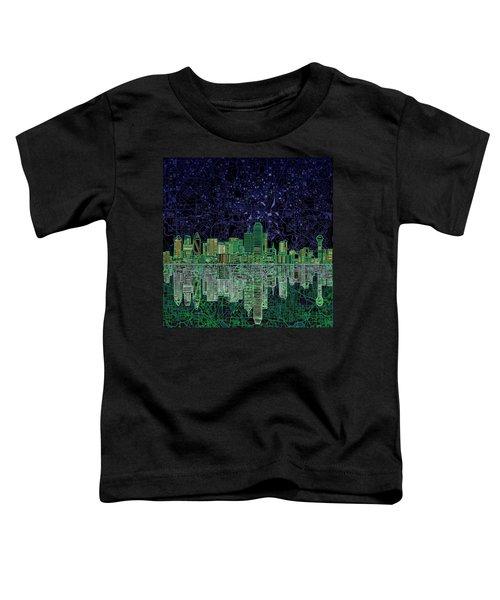 Dallas Skyline Abstract 4 Toddler T-Shirt by Bekim Art
