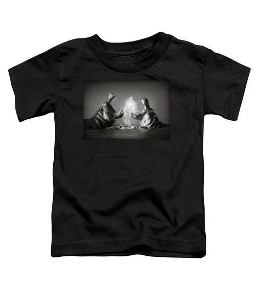 Hippo's Fighting Toddler T-Shirt by Johan Swanepoel