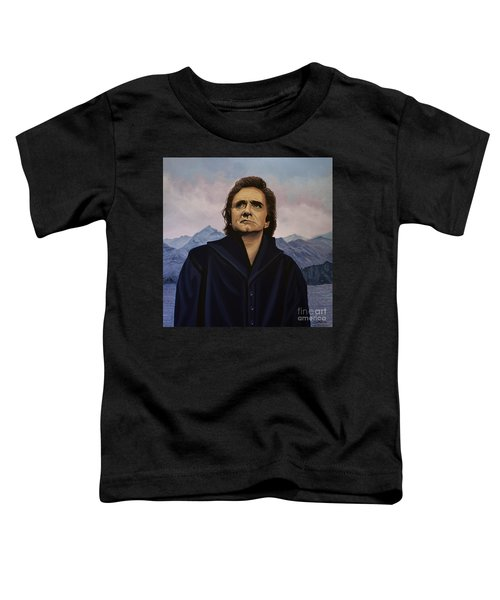 Johnny Cash Painting Toddler T-Shirt by Paul Meijering