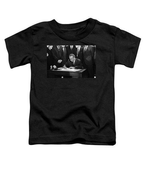 Lbj Signs Civil Rights Bill Toddler T-Shirt by Underwood Archives Warren Leffler