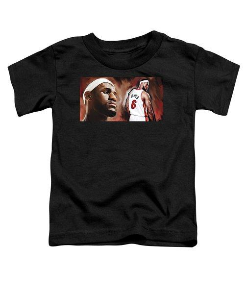 Lebron James Artwork 2 Toddler T-Shirt by Sheraz A