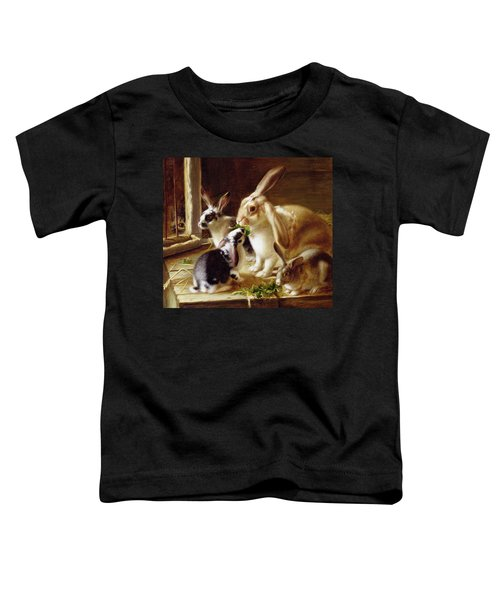 Long-eared Rabbits In A Cage Watched By A Cat Toddler T-Shirt by Horatio Henry Couldery