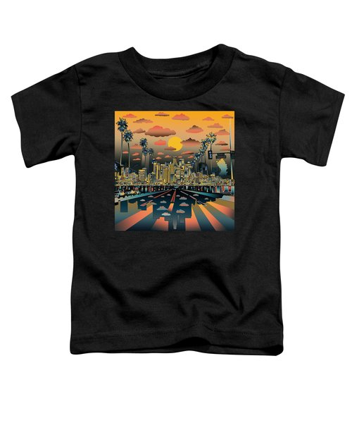 Los Angeles Skyline Abstract 2 Toddler T-Shirt by Bekim Art
