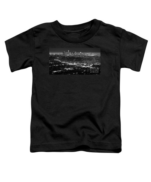 Los Angeles Skyline At Night Monochrome Toddler T-Shirt by Bob Christopher
