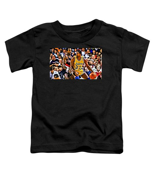 Magic Johnson Vs Clyde Drexler Toddler T-Shirt by Florian Rodarte