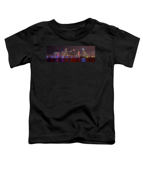 Miami Skyline At Night Panorama Color Toddler T-Shirt by Jon Holiday