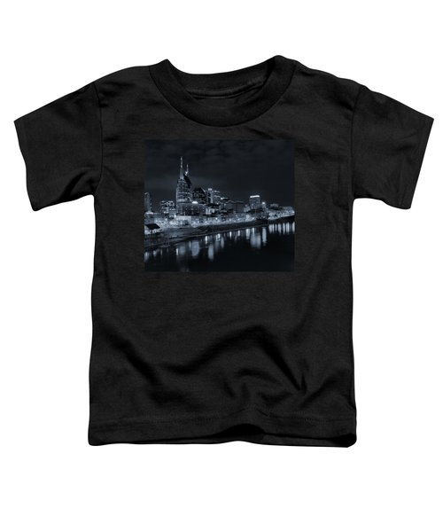 Nashville Skyline At Night Toddler T-Shirt by Dan Sproul