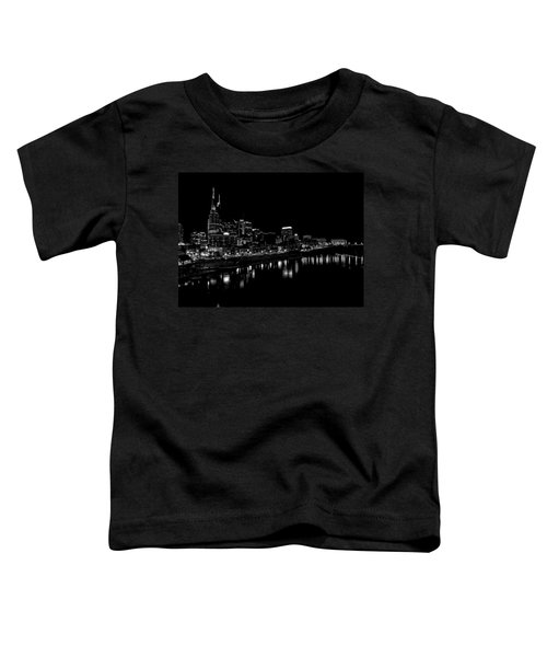 Nashville Skyline At Night In Black And White Toddler T-Shirt by Dan Sproul