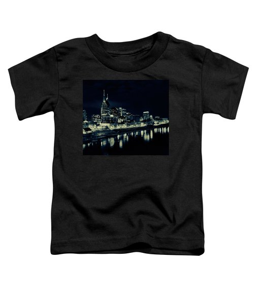 Nashville Skyline Reflected At Night Toddler T-Shirt by Dan Sproul