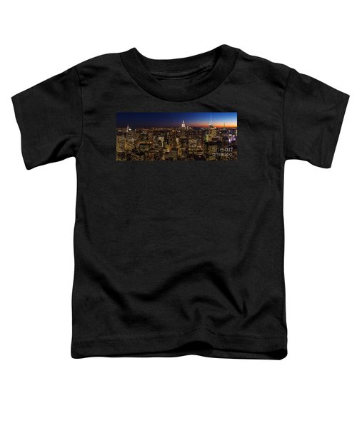 New York City Skyline At Dusk Toddler T-Shirt by Mike Reid