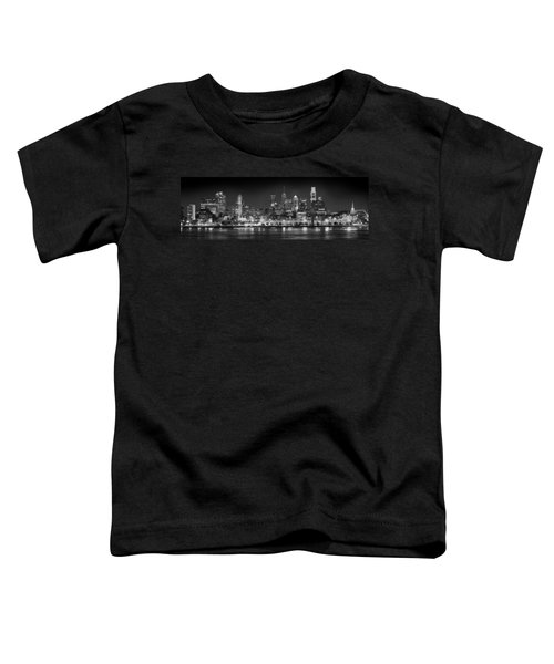 Philadelphia Philly Skyline At Night From East Black And White Bw Toddler T-Shirt by Jon Holiday