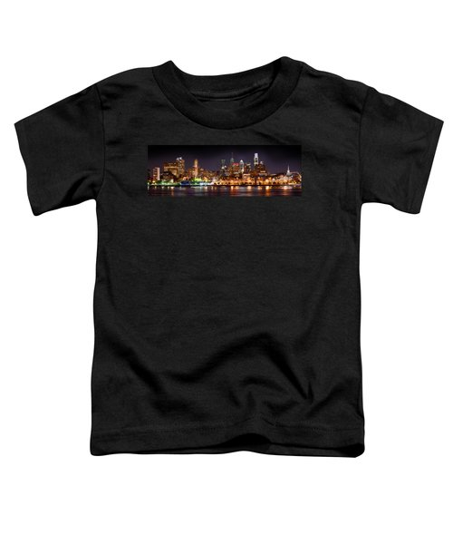 Philadelphia Philly Skyline At Night From East Color Toddler T-Shirt by Jon Holiday