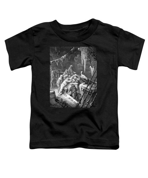The Albatross Being Fed By The Sailors On The The Ship Marooned In The Frozen Seas Of Antartica Toddler T-Shirt by Gustave Dore
