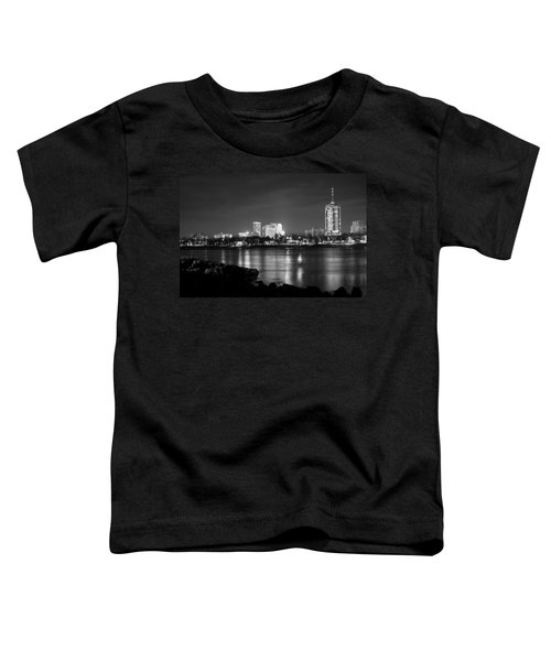 Tulsa In Black And White - University Tower View Toddler T-Shirt by Gregory Ballos