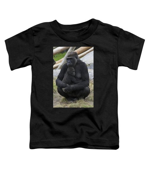 Western Lowland Gorilla Mother And Baby Toddler T-Shirt by San Diego Zoo