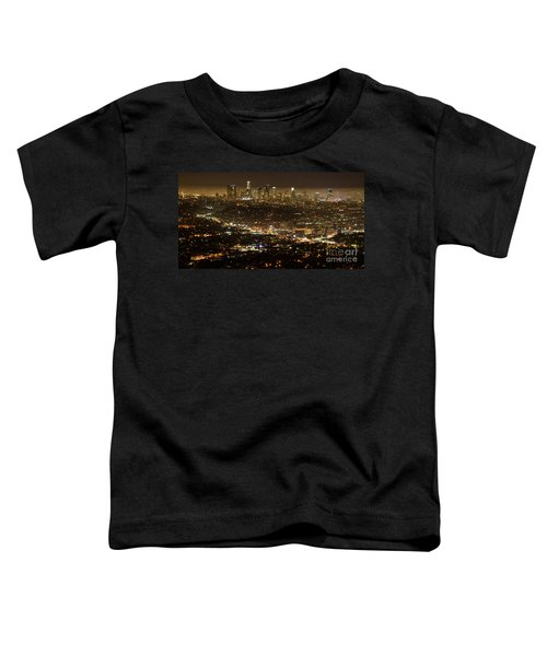 Los Angeles  City View At Night  Toddler T-Shirt by Bob Christopher