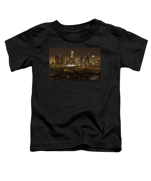 Los Angeles Skyline At Night Toddler T-Shirt by Bob Christopher
