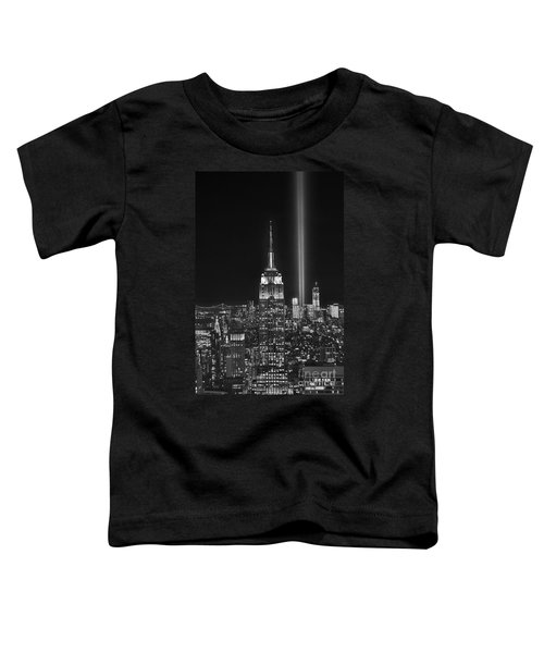 New York City Tribute In Lights Empire State Building Manhattan At Night Nyc Toddler T-Shirt by Jon Holiday