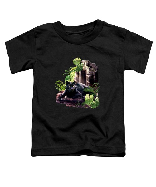 Black Panther Custodian Of Ancient Temple Ruins  Toddler T-Shirt by Regina Femrite