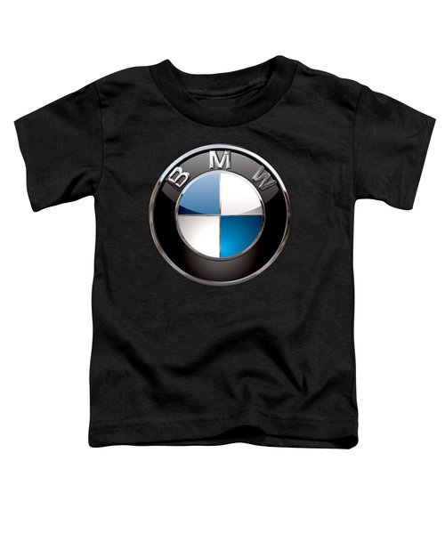 B M W - 3d Badge On Black Toddler T-Shirt by Serge Averbukh