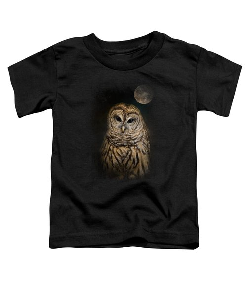 Barred Owl And The Moon Toddler T-Shirt by Jai Johnson