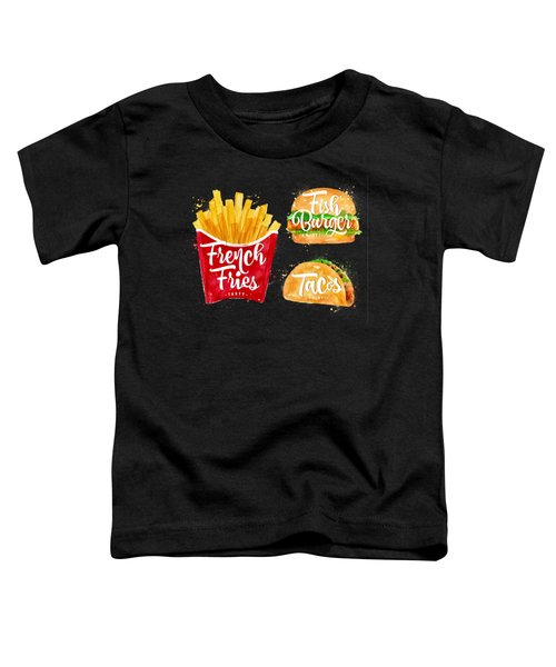 Black French Fries Toddler T-Shirt by Aloke Design