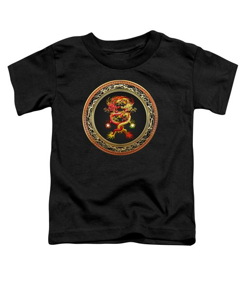 Brotherhood Of The Snake - The Red And The Yellow Dragons On Black Velvet Toddler T-Shirt by Serge Averbukh