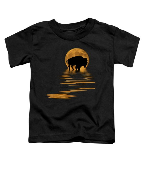 Buffalo In The Moonlight Toddler T-Shirt by Shane Bechler