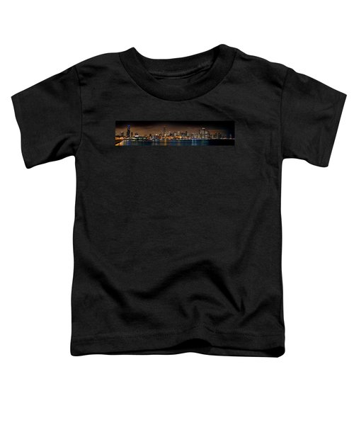 Chicago Skyline At Night Extra Wide Panorama Toddler T-Shirt by Jon Holiday