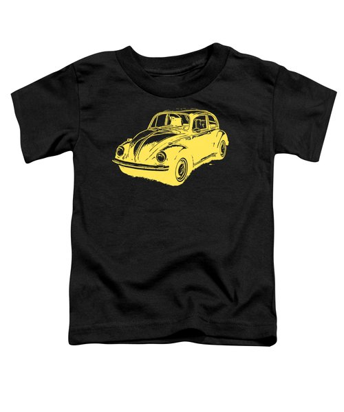 Classic Vw Beetle Tee Yellow Ink Toddler T-Shirt by Edward Fielding