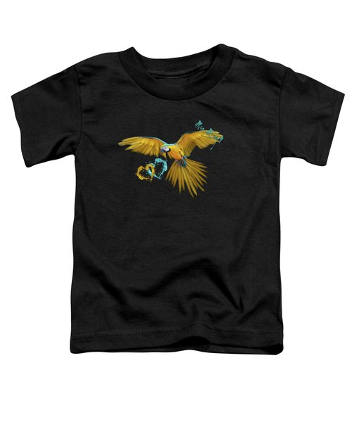 Colorful Blue And Yellow Macaw Toddler T-Shirt by iMia dEsigN