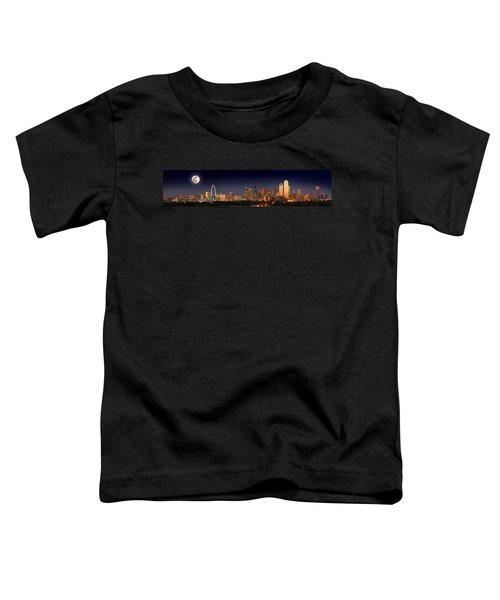 Dallas Skyline At Dusk Big Moon Night  Toddler T-Shirt by Jon Holiday
