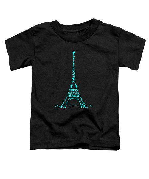 Digital-art Eiffel Tower Cyan Toddler T-Shirt by Melanie Viola