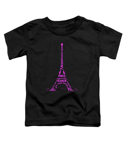 Digital-art Eiffel Tower Pink Toddler T-Shirt by Melanie Viola