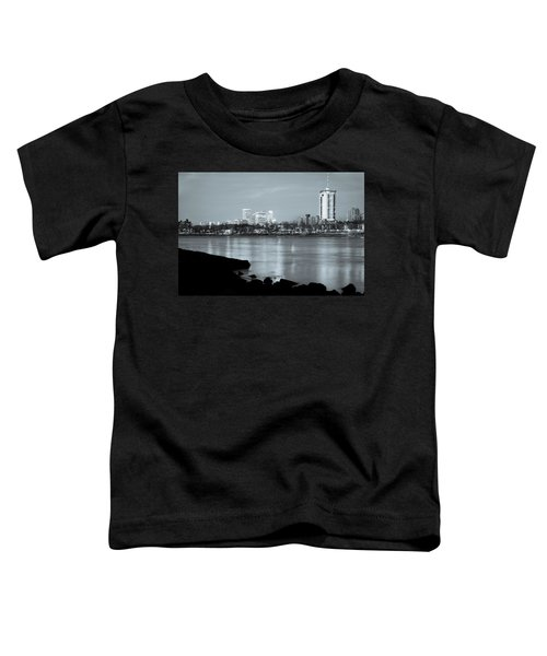 Downtown Tulsa Oklahoma - University Tower View - Black And White Toddler T-Shirt by Gregory Ballos